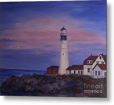 Metal Print featuring the painting Portland Head Lighthouse At Dawn by Julie Brugh Riffey