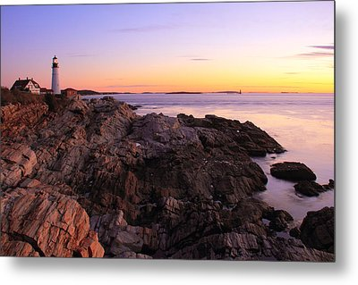 Portland Head Lighthouse Seascape Metal Print by Roupen  Baker