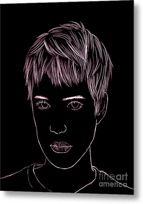 Portrait Drawing Metal Print by Bou Lemon