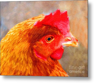 Portrait Of A Chicken Metal Print by Wingsdomain Art and Photography