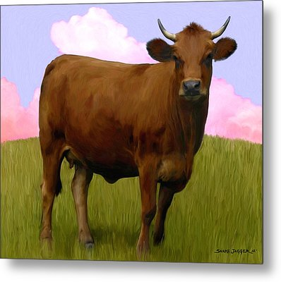 Portrait Of A Cow Metal Print by Snake Jagger