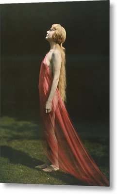 Portrait Of A Nude Woman Draped Metal Print by Franklin Price Knott