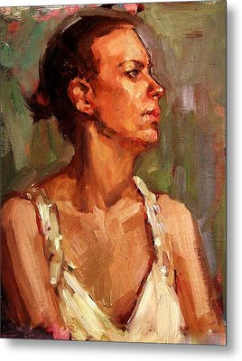 Portrait Of A Stern And Distanced Hardworking Woman In Light Summer Dress With Deep Shadows Dramatic Metal Print by M Zimmerman MendyZ