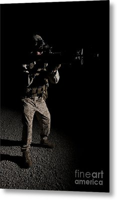 Portrait Of A U.s. Marine In Northern Metal Print by Terry Moore