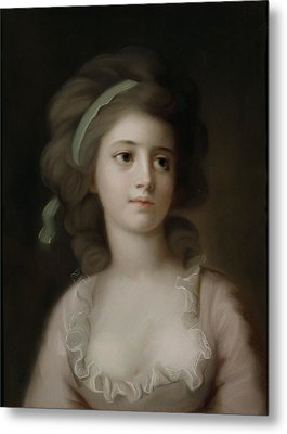 Portrait Of A Young Lady Metal Print by French School