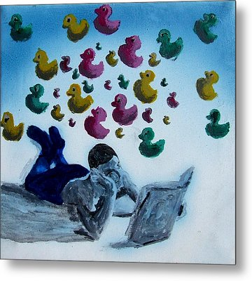 Portrait Of Boy Reading Large Book While Laying On Floor And Fantasizing About Ducks Floating Kids Metal Print by M Zimmerman MendyZ