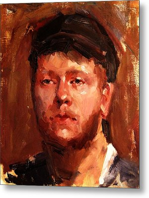 Portrait Of Irish Fisherman With Weary Sad Eyes And Hard Work Face Deep Lines And Lost Souls Cap Metal Print by M Zimmerman MendyZ