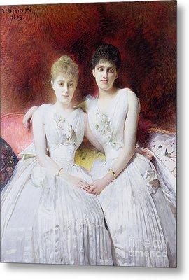 Portrait Of Marthe And Terese Galoppe Metal Print by Leon Joseph Bonnat