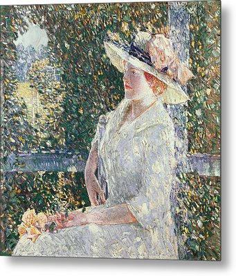 Portrait Of Miss Weir Metal Print by Childe Hassam
