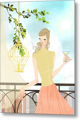 Portrait Of Young Woman Holding Wineglass Metal Print