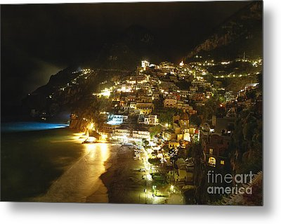 Positano Nightscape Metal Print by George Oze