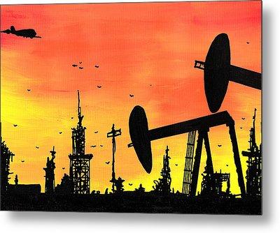 Post Apocalyptic Oil Skyline Metal Print by Jera Sky