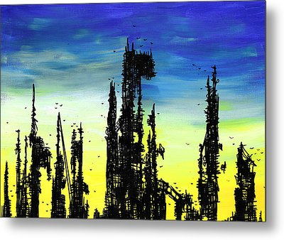 Post Apocalyptic Skyline 2 Metal Print by Jera Sky