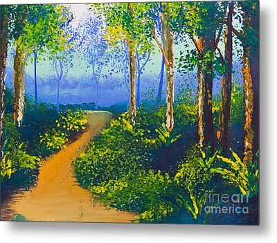 Poster Color Drawing Walk Way In Forest Metal Print by Mongkol Chakritthakool