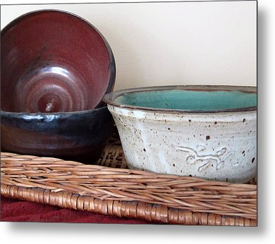 Pottery In A Basket Metal Print by Kathy Sheeran