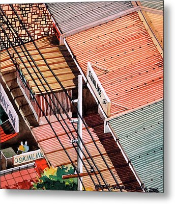 Power Lines And Roofs Metal Print