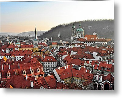 Prague - A Story Told By Rooftops Metal Print by Christine Till