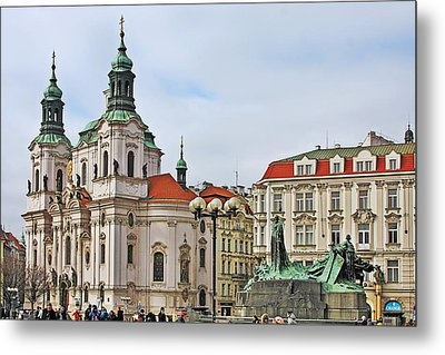 Prague - St Nicholas Church Old Town Square Metal Print by Christine Till