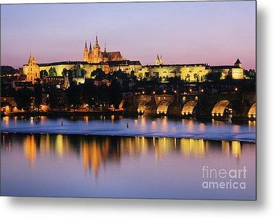 Prague Castle On The Riverbank Metal Print by Jeremy Woodhouse