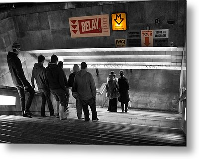 Prague Underground Station Stairs Metal Print by Stelios Kleanthous