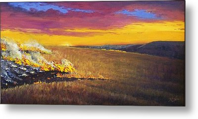 Metal Print featuring the painting Prairie Fire by Rod Seel