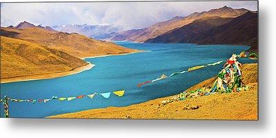 Prayer Flags By Yamdok Yumtso Lake, Tibet Metal Print by Feng Wei Photography