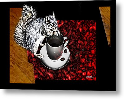 Prayer Over Coffee - Robbie The Squirrel Metal Print by James Ahn