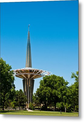 Prayer Tower Portrait Metal Print by David Waldo