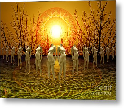 Metal Print featuring the digital art Pregnant Sun by Rosa Cobos