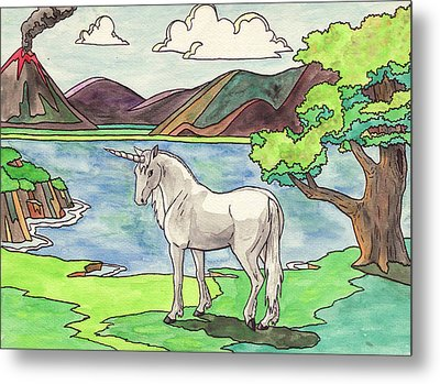 Prehistoric Unicorn Metal Print by Crista Forest