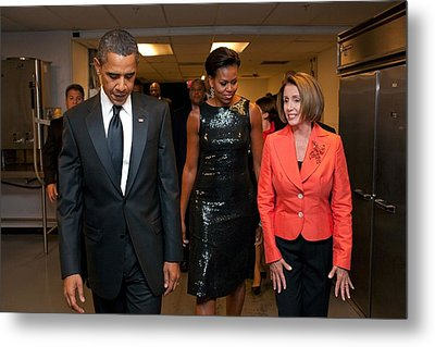 President And Michelle Obama And House Metal Print by Everett