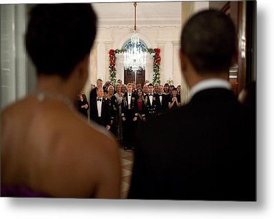 President And Michelle Obama Face White Metal Print