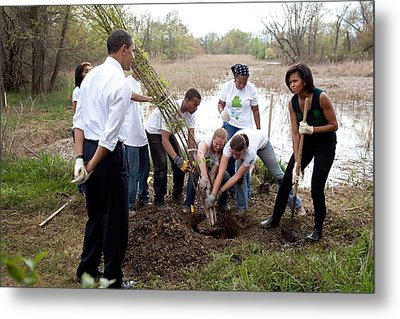 President And Michelle Obama Help Plant Metal Print by Everett