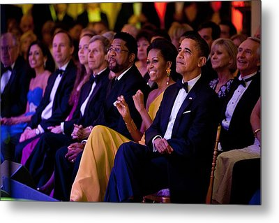 President And Michelle Obama Listen Metal Print by Everett