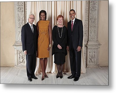 President And Michelle Obama Pose Metal Print by Everett