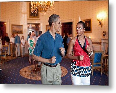President And Michelle Obama Pretend Metal Print