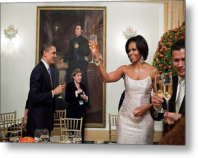 President And Michelle Obama Toast Metal Print by Everett