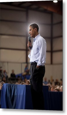 President Barack Obama At A Town Hall Metal Print by Everett