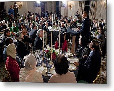 President Barack Obama Delivers Remarks Metal Print by Everett