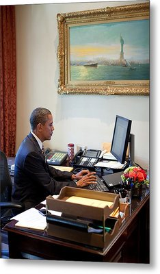 President Barack Obama Does Last-minute Metal Print by Everett