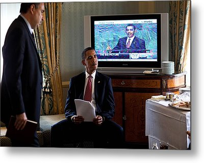 President Barack Obama In Front Metal Print by Everett