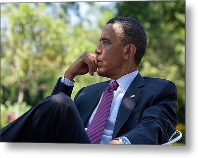 President Barack Obama Is Briefed Metal Print by Everett