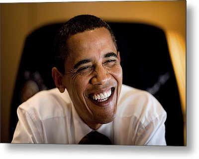 President Barack Obama Laughs During An Metal Print by Everett