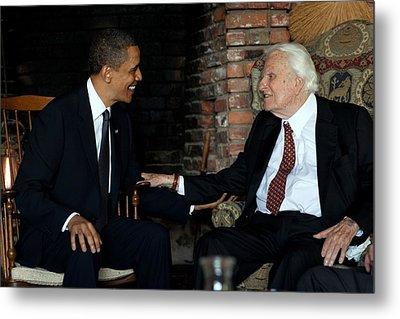President Barack Obama Meets With Rev Metal Print by Everett