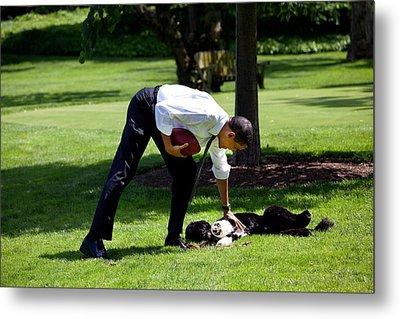 President Barack Obama Pets The Family Metal Print by Everett