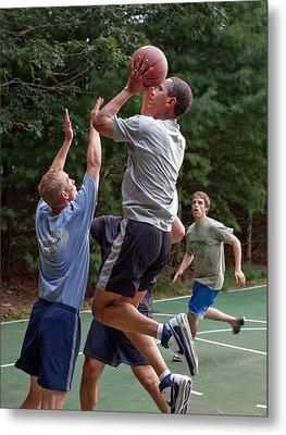 President Barack Obama Plays Basketball Metal Print by Everett