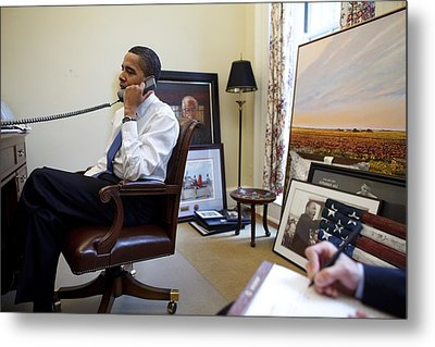 President Barack Obama Takes A Phone Metal Print by Everett