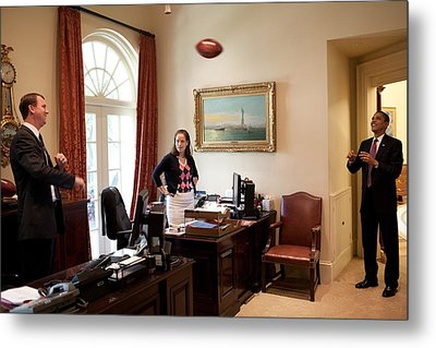 President Barack Obama Tosses Metal Print by Everett