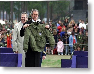 President Bush Displays A Jacket Given Metal Print by Everett