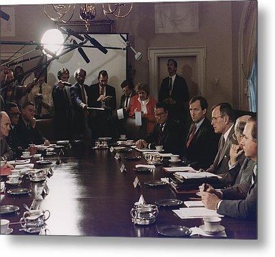 President Bush Participates In A Full Metal Print by Everett